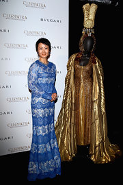 Zhao Tao chose this blue lace gown for her look at the 'Cleopatra' cocktail party in Cannes.