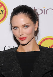 Georgina Chapman arrived at a screening of 'Bully' wearing muted coral-red lipstick with a bit of shine.