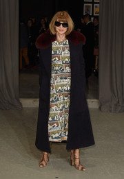 Anna Wintour attended the Burberry fashion show sporting a stylish painterly-print dress.