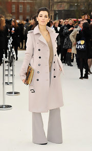 Giorgia Surina's trench-like pea coat was stunning! It had a cool menswear feel to it.