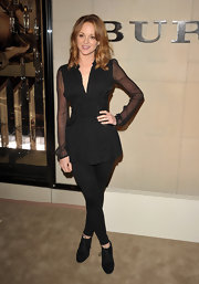 Jayma Mays was darkly chic at the Burberry soiree in Beverly Hills. She topped off her look with black suede heels.