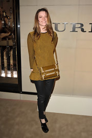 Talulah Riley balanced her voluminous mustard sweater with tight black leather pants.