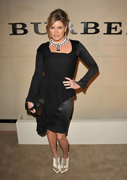 Grace Potter wore a black cocktail dress with a unique chiffon overlap at the Burberry Body Launch party.