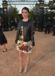 Bee Shaffer was a stylish mix of edgy and sweet in her black leather jacket and floral dress ensemble at the Burberry London in Los Angeles show.