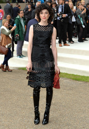 St. Vincent attended the Burberry Prorsum fashion show looking fierce in a little black lattice dress from the brand.