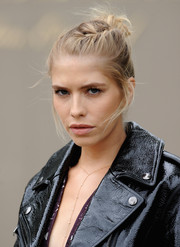 Elena Perminova opted for a youthful braided updo when she attended the Burberry Prorsum fashion show.