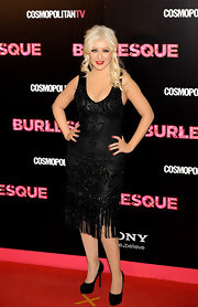 Christina dons a black beaded cocktail dress to the 'Burlesque' premiere in Madrid.