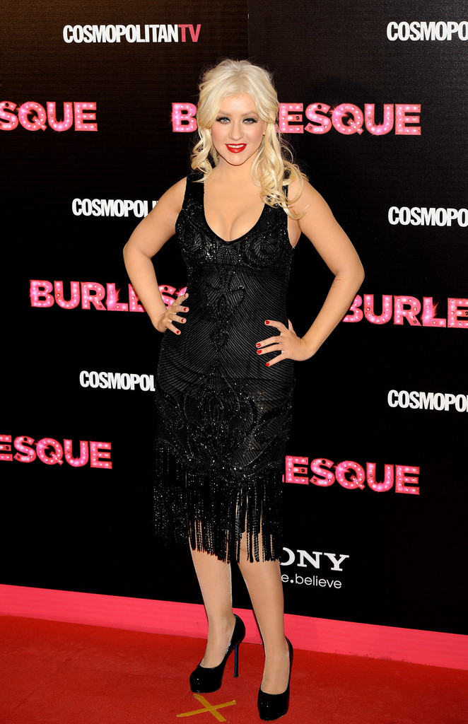 "Singer and actress Christina Aguilera attends ""Burlesque"" premiere at Callao cinema on December 9, 2010 in Madrid, Spain."