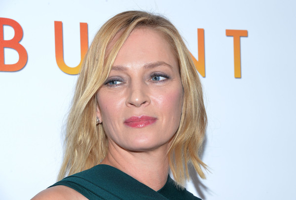 Uma Thurman attended the New York premiere of 'Burnt' wearing her hair in a layered bob.