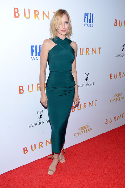 Uma Thurman paired her chic dress with Alexandre Birman Clarita sandals, in nude.