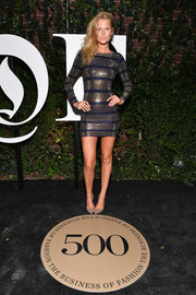 Toni Garrn sizzled in a silver and blue chainmail dress by Balmain at the #BoF500 gala.