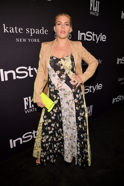 Busy Philipps Leather Clutch [red carpet,clothing,dress,fashion,fashion model,shoulder,premiere,hairstyle,yellow,carpet,fashion design,busy philipps,instyle awards,the getty center,los angeles,california]