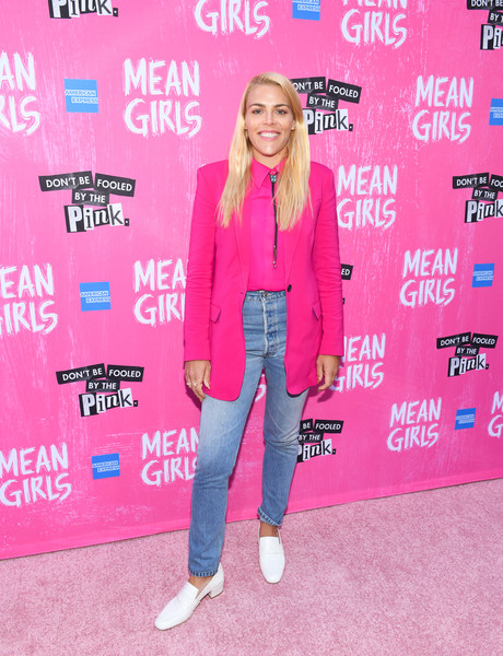 Busy Philipps High-Waisted Jeans [pink,clothing,outerwear,magenta,jeans,carpet,footwear,denim,premiere,blazer,mean girls,broadway,new york city,august wilson theatre,busy phillips]