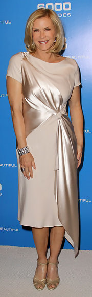 Katherine Kelly Lang looked oh-so-ladylike in an ivory cocktail dress featuring draped detailing at the 6,000th episode celebration of 'The Bold and the Beautiful.'