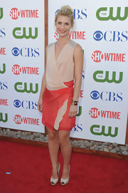 "Claire Danes got a boost at the 'CW' and 'Showtime"" 2011 TCA Party with a pair of ivory double platform peep-toes."