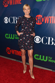 Jaime Pressly showed off her super-toned legs in a printed mini dress during the CBS Summer TCA Party.