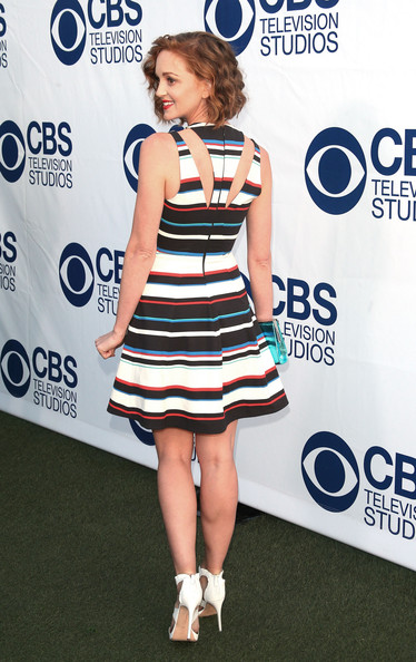 More Pics of Jayma Mays Strappy Sandals (1 of 13) - Jayma Mays Lookbook - StyleBistro [clothing,dress,cocktail dress,shoulder,fashion,footwear,electric blue,joint,premiere,carpet,arrivals,jayma mays,the london west hollywood,california,cbs,summer soiree,cbs summer soiree]