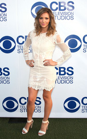 Katharine McPhee looked alluring in a short white lace dress during the CBS Summer Soiree.