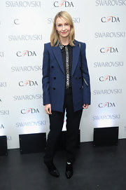 Rebecca Taylor opted for a masculine-inspired look with this over-sized blue blazer.