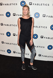 Alexandra Richards teamed her leggings with a plain black tank top.
