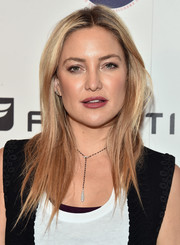 Kate Hudson sported sleek center-parted layers at the CFDA and Fabletics event.