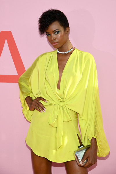 More Pics of Maria Borges Metallic Clutch (1 of 2) - Maria Borges Lookbook - StyleBistro [clothing,fashion model,yellow,fashion,pink,shoulder,fashion design,outerwear,sleeve,dress,arrivals,maria borges,cfda fashion awards,brooklyn museum of art,new york city]