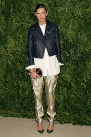 Jenna Lyons added major shimmer to her look with a pair of gold harem pants.