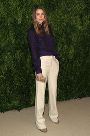 Dree Hemingway kept it basic with a purple button-down at the Fashion Fund finalists celebration.