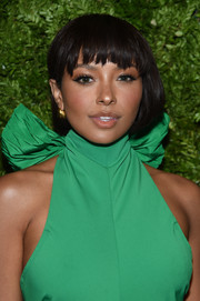 Kat Graham wore her hair in a bob with choppy bangs at the 2019 CFDA/Vogue Fashion Fund Awards.