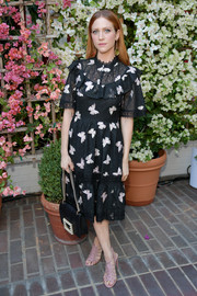 Brittany Snow looked dainty in a butterfly-print lace dress by Kate Spade at the CFDA/Vogue Fashion Fund show and tea.