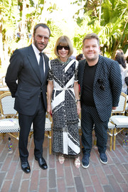 Anna Wintour looked playfully stylish in a monochrome mixed-print dress by Altuzarra at the CFDA/Vogue Fashion Fund show and tea.