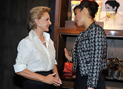 Carolina Herrera wore a super sophisticated beaded white button-down shirt to the opening of her store.