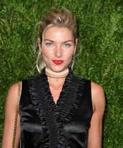 Jessica Hart livened up her beauty look with bright red lipstick.