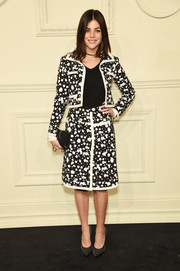 Julia Restoin-Roitfeld suited up in this black-and-white splatter-print number by Chanel for the label's Paris-Salzburg show.