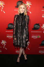 Rachel Brosnahan was goth-glam in a long-sleeve black lace dress at the world premiere of 'Crisis in Six Scenes.'