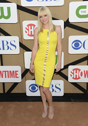 Anna Faris captured our attention with this sunshine yellow body-contouring sheath with a single gold stripe adorning the front.