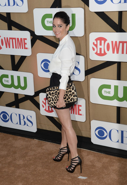 More Pics of Robin Tunney Button Down Shirt (8 of 8) - Tops Lookbook - StyleBistro [clothing,fashion,leg,snapshot,footwear,design,outerwear,pattern,photography,technology,arrivals,robin tunney,california,los angeles,cw,cbs,showtime 2013 summer tca,showtime 2013 summer tca party]