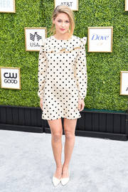 Melissa Benoist looked adorable in a polka-dot mini dress with a ruffled yoke at the CW Network's fall launch event.