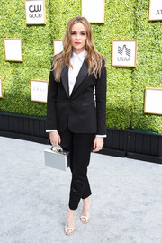 Danielle Panabaker was androgynous-chic in a black Styland pantsuit at the CW Network's fall launch event.