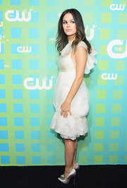 Rachel Bilson paired her ethereal frock with sexy silver satin pumps.