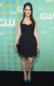 Jessica Lowndes added a bright blue pair of pumps to her look for the CW UPfront event.