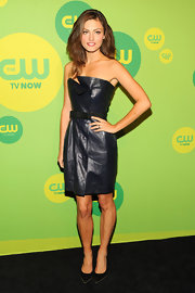 Phoebe's strapless leather dress had a cool edgy touch at CW's Upfront event.