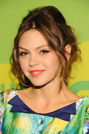 Aimee Teegarden chose a teased updo to pin up her waves.