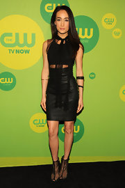 Maggie Q took a fresh take on the little black dress when she wore this leather and mesh cutout piece.