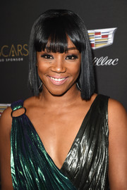 Tiffany Haddish opted for a short straight hairstyle with eye-grazing bangs when she attended the Cadillac Oscar week celebration.