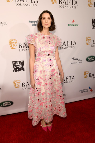 Caitriona Balfe Embroidered Dress [red carpet,clothing,dress,carpet,premiere,flooring,hairstyle,fashion model,pink,shoulder,arrivals,caitriona balfe,los angeles,four seasons hotel,california,beverly hills,bafta,tea party]