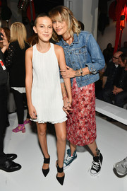 Paris Jackson added some girly appeal with a printed red pencil skirt by Calvin Klein.