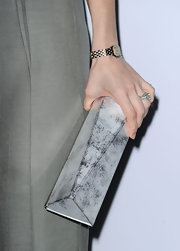 Sarah showed off this unique clutch at this event. Something about the clutch gives off a chic industrial feel.