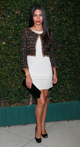 Camila Alves Cropped Jacket [clothing,fashion model,fashion,dress,cocktail dress,leg,footwear,street fashion,outerwear,long hair,camila alves,ron kelly meyer,benefit dinner,ocean initiative,home,malibu,california,chanel,the natural resources defense council]