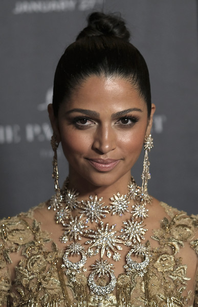 Camila Alves Diamond Statement Necklace [twc-dimension hosts the world premiere of gold,hair,eyebrow,hairstyle,beauty,jewellery,lip,shoulder,forehead,chignon,black hair,camila alves,theater,new york city,lincoln square,red carpet,twc - dimension,amc loews,the world premiere of gold]